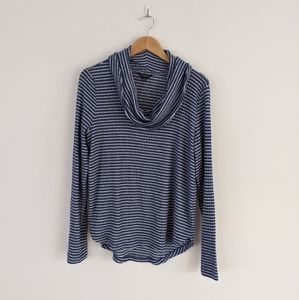 Lucky Brand Cloud Ribbed Stripe Cowl Neck
